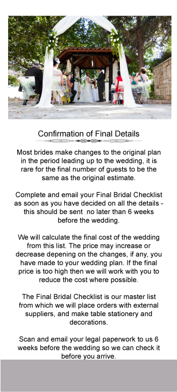 wedding detail checklist