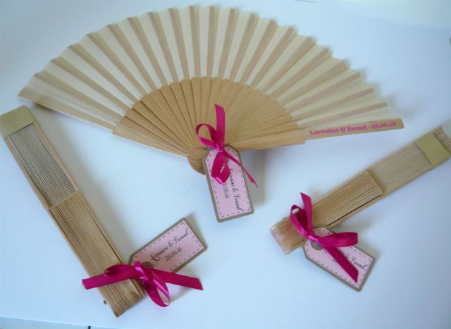 Wooden Fan with Tag