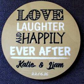 Love, Laughter Hardboard Coaster